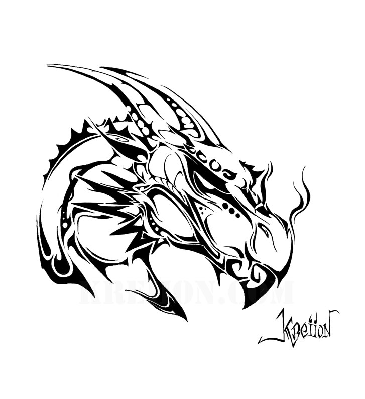 Coloriage Dragon Tribal Papedelca Com